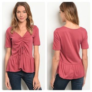 NEW! 3 FOR $40 • Berry Colored Cinched Front Tunic